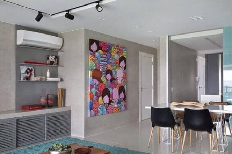 quadro grande para decoração de sala de jantar integrada com sala de estar Foto Fernanda Azevedo Mancini