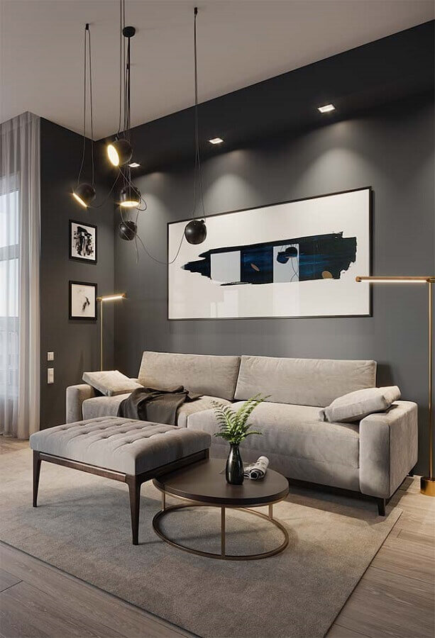 quadro grande para sala de estar cinza moderna Foto Architecture Art Designs