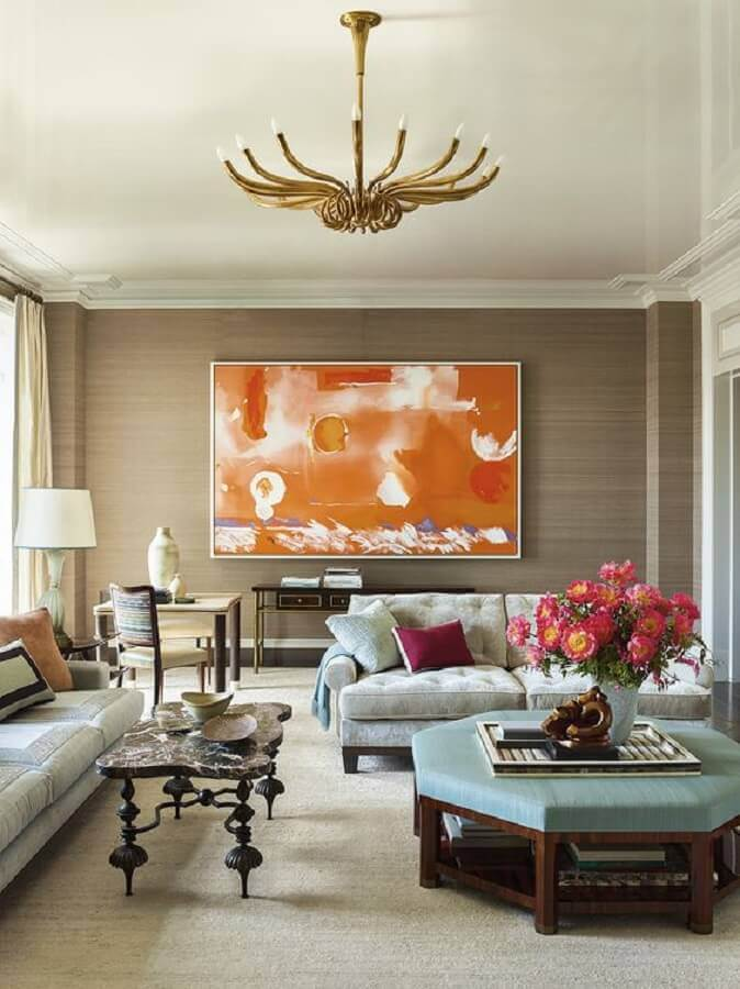 quadro grande para sala de estar decorada com estilo clássico Foto Galerie Magazine