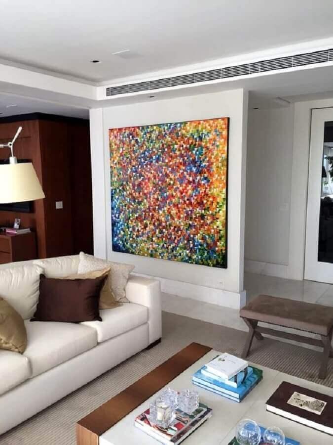 quadro grande para sala de estar decorada com sofá branco Foto Elo7