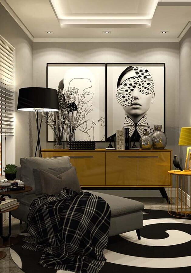 quadros decorativos grandes para sala cinza decorada com buffet amarelo Foto Architecture Art Designs