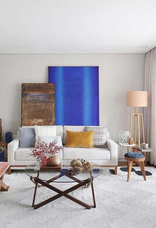 quadros decorativos grandes para sala de estar simples Foto Jeito de Casa