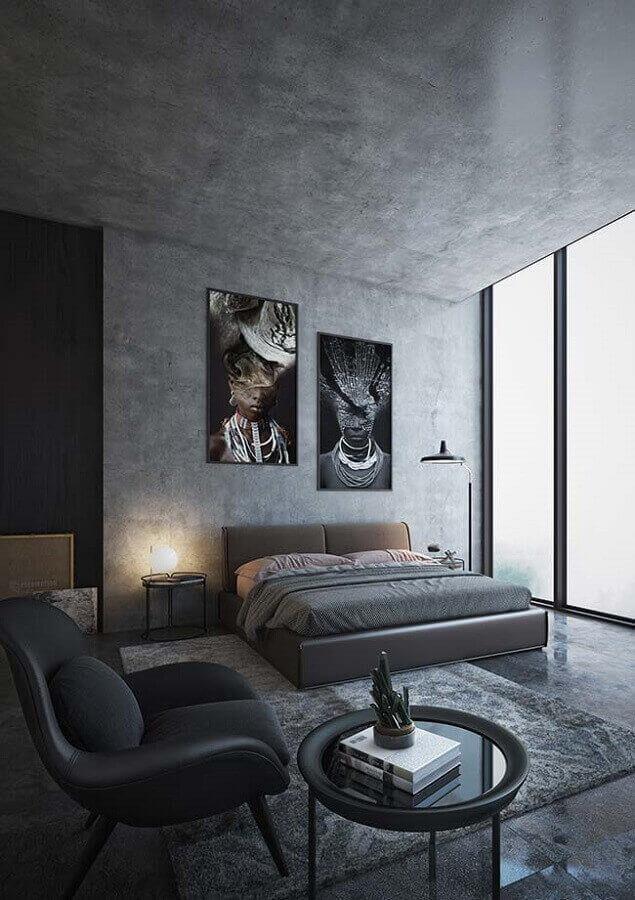 quadros grandes para decoração de quarto cinza moderno com parede de cimento queimado Foto Pinterest