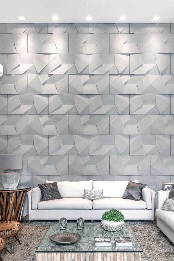 revestimento 3D cinza claro para decoração de sala de estar com sofá branco Foto Pinosy
