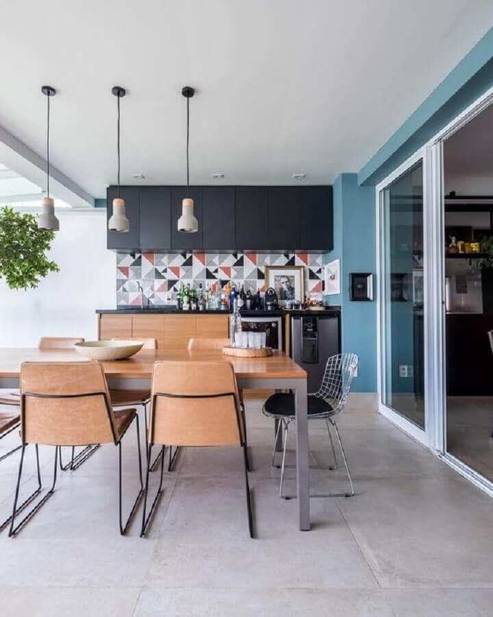 revestimento geométrico para área gourmet moderna Foto Histórias de Casa