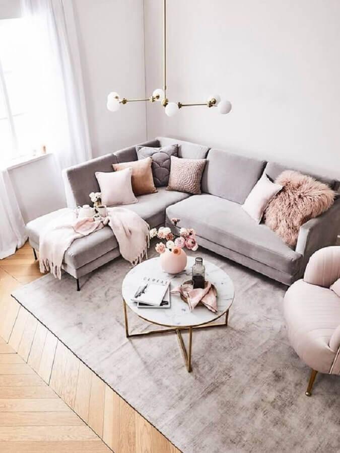 sala cinza e rosa decorada com mesa de centro redonda Foto Decoholic