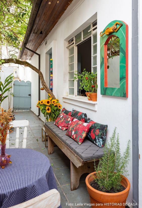 Almofada para banco de jardim estampada