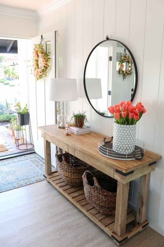 Aparador rustico com espelho redondo moderno