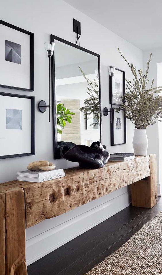 Aparador rustico na decoração de casa minimalista