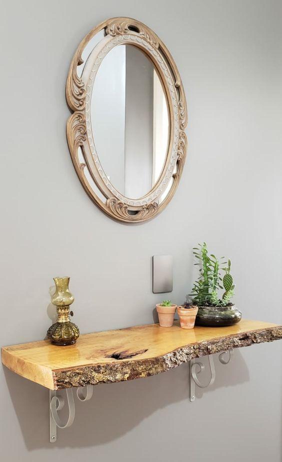 Aparador rustico suspenso com espelho redondo