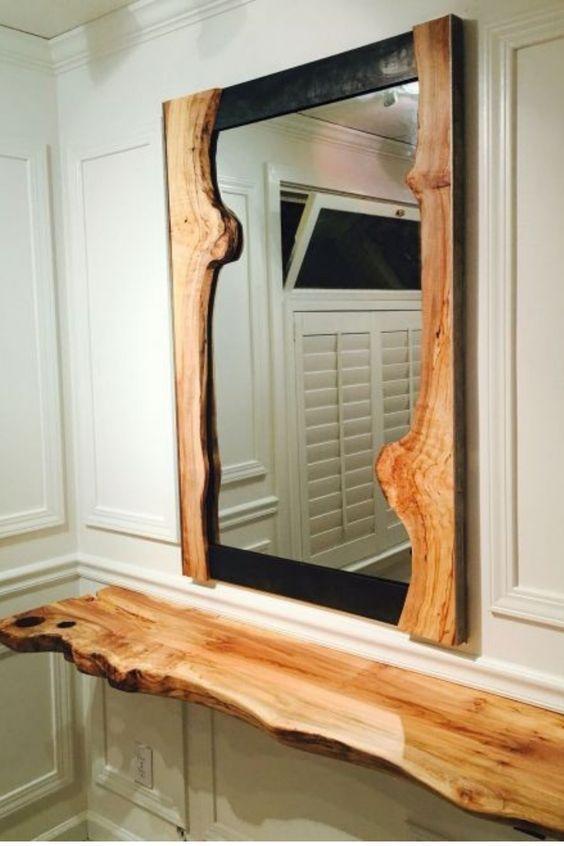 Aparador rustico suspenso com espelho rústico
