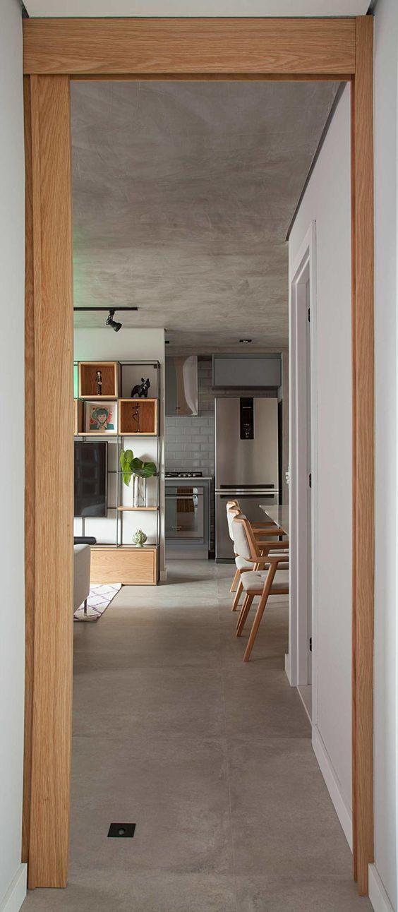 Apartamento com porcelanato cimento queimado
