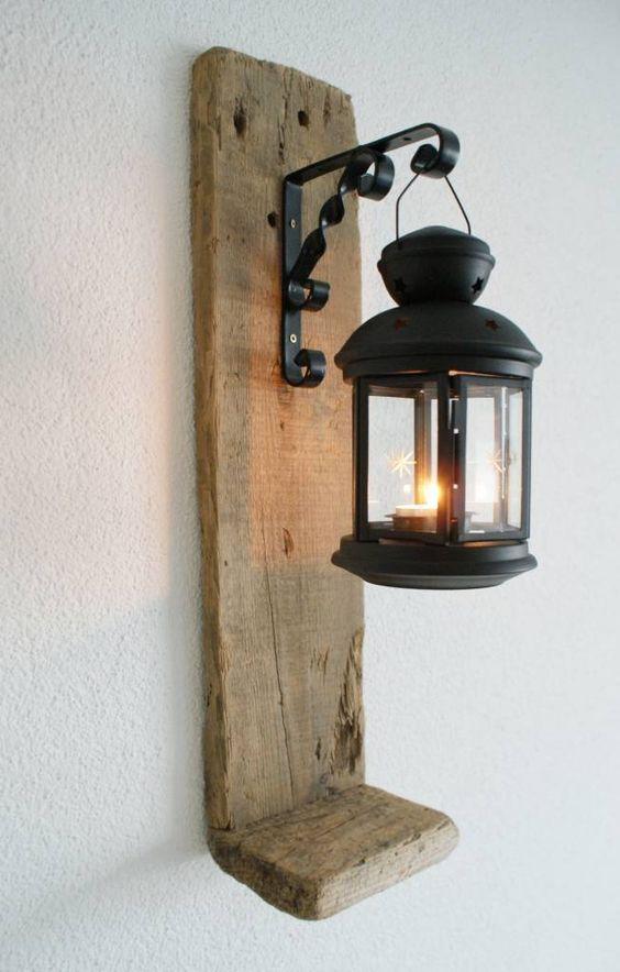Arandela industrial de madeira e ferro