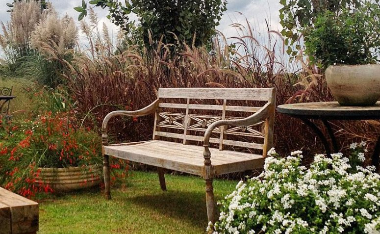 . Banco de jardim de madeira com flores ao lado