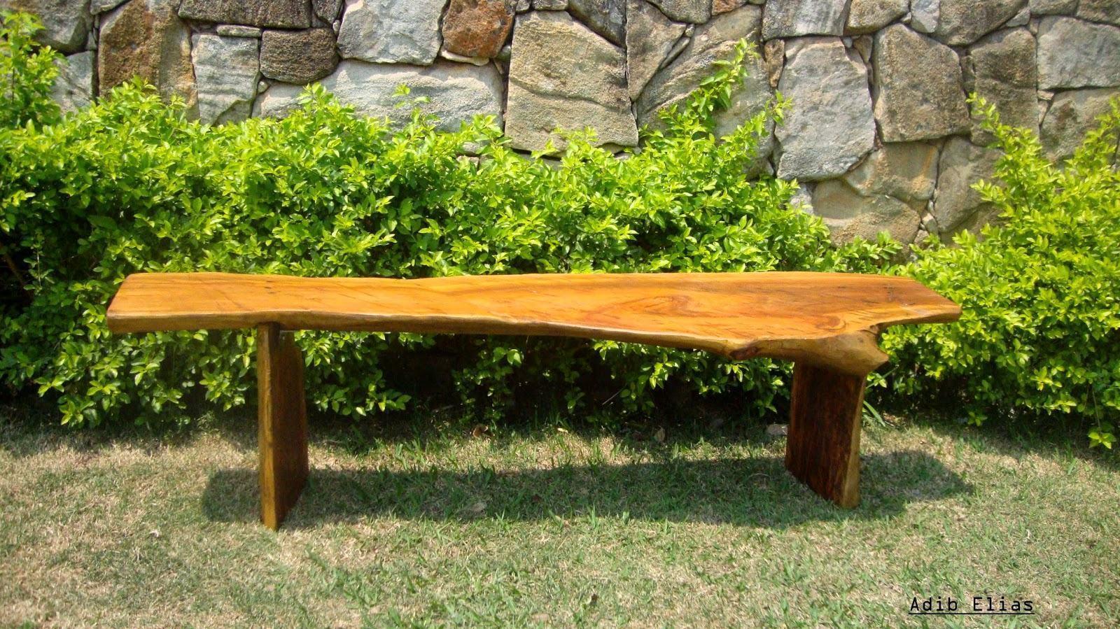 Banco de jardim rustico de madeira