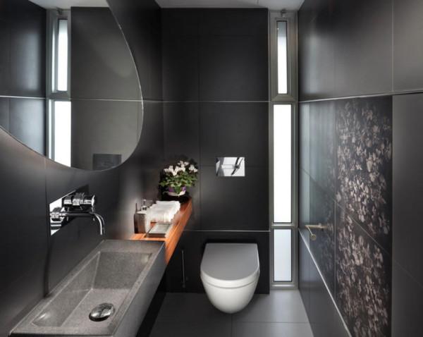 Banheiro com porcelanato preto acetinado