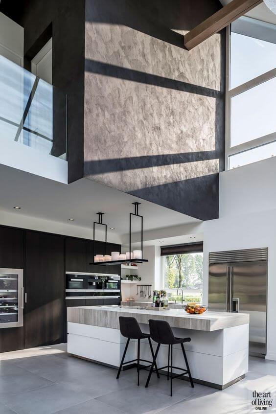 Casa moderna com porcelanato cimento queimado