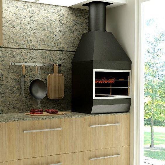 Churrasqueira de parede de carvão no espaço gourmet