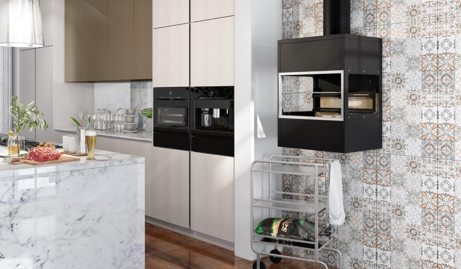 Churrasqueira de parede na cozinha moderna e planejada