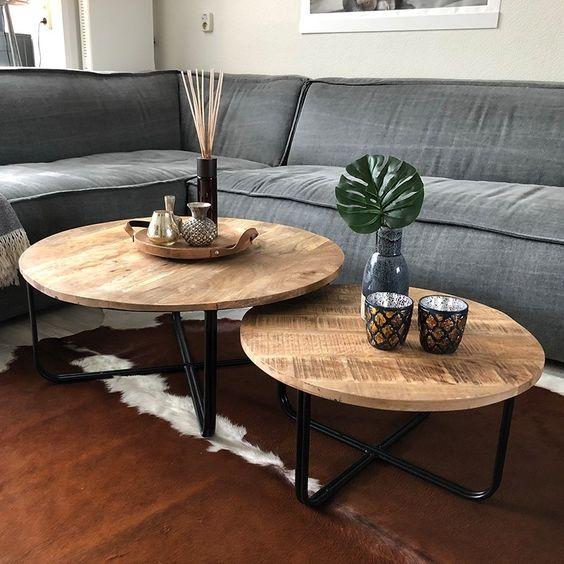 Conjunto de mesa de centro rustica e redonda