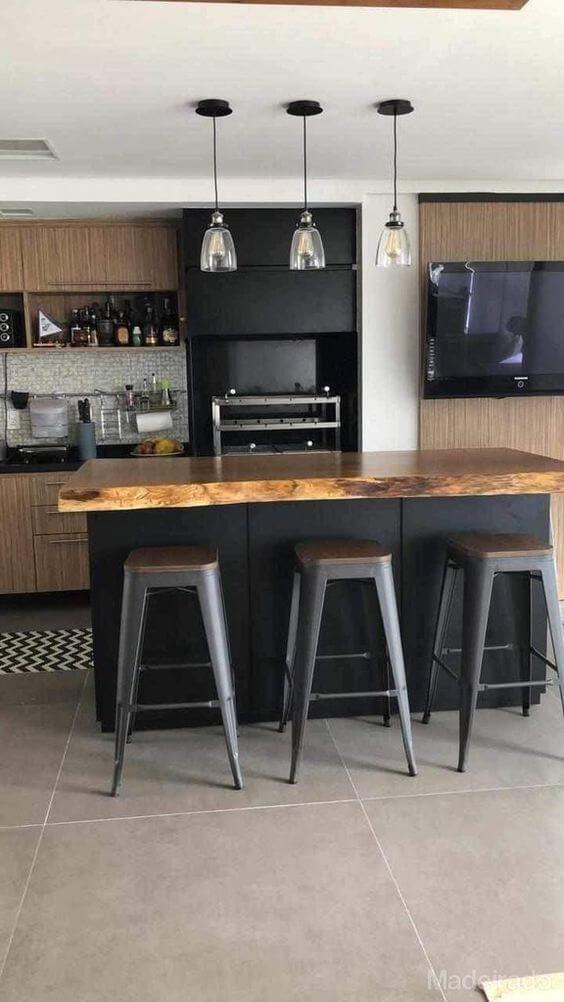 Cozinha com piso porcelanato cimento queimado