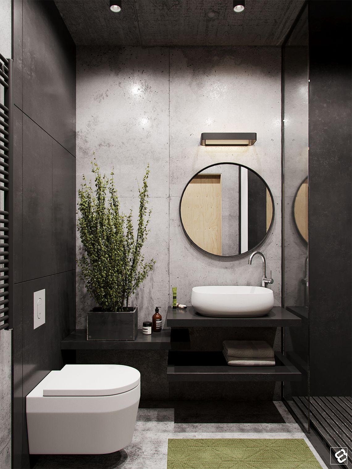 Lavabo com porcelanato preto e cinza