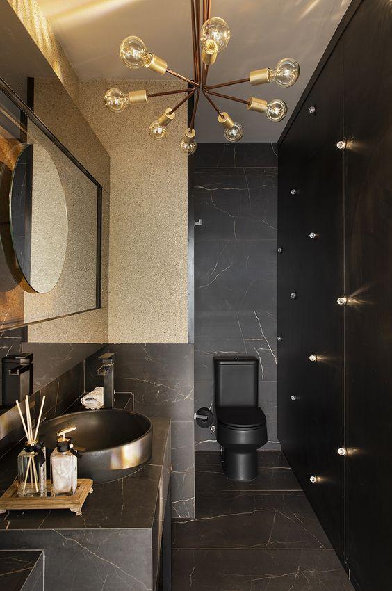 Lavabo com porcelanato preto marmorizado