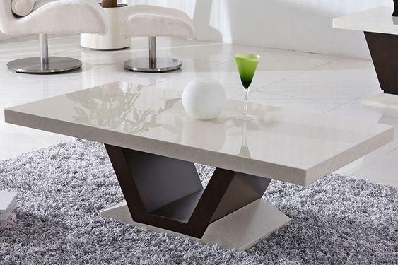 Mesa de centro de granito branco e preto