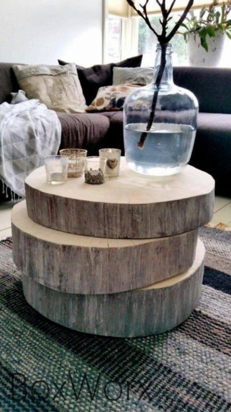 Mesa de centro de madeira redonda