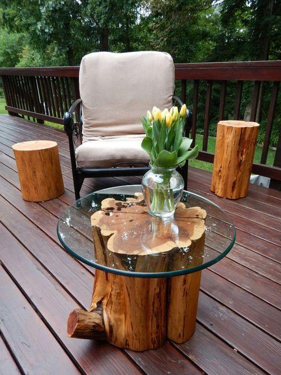 Mesa de centro rustica com tampo de vidro redonda