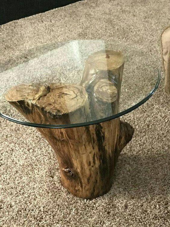 Mesa de centro rustica com tampo de vidro redondo