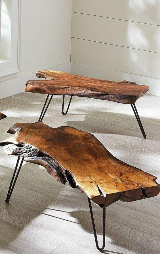 Mesa de centro rustica de madeira e fero