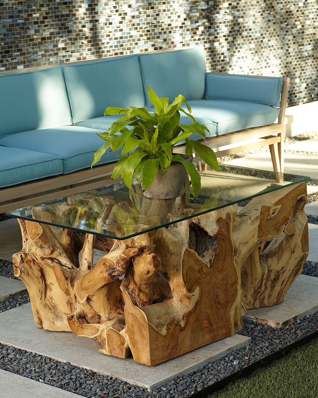 Mesa de centro rustica de madeira e vidro