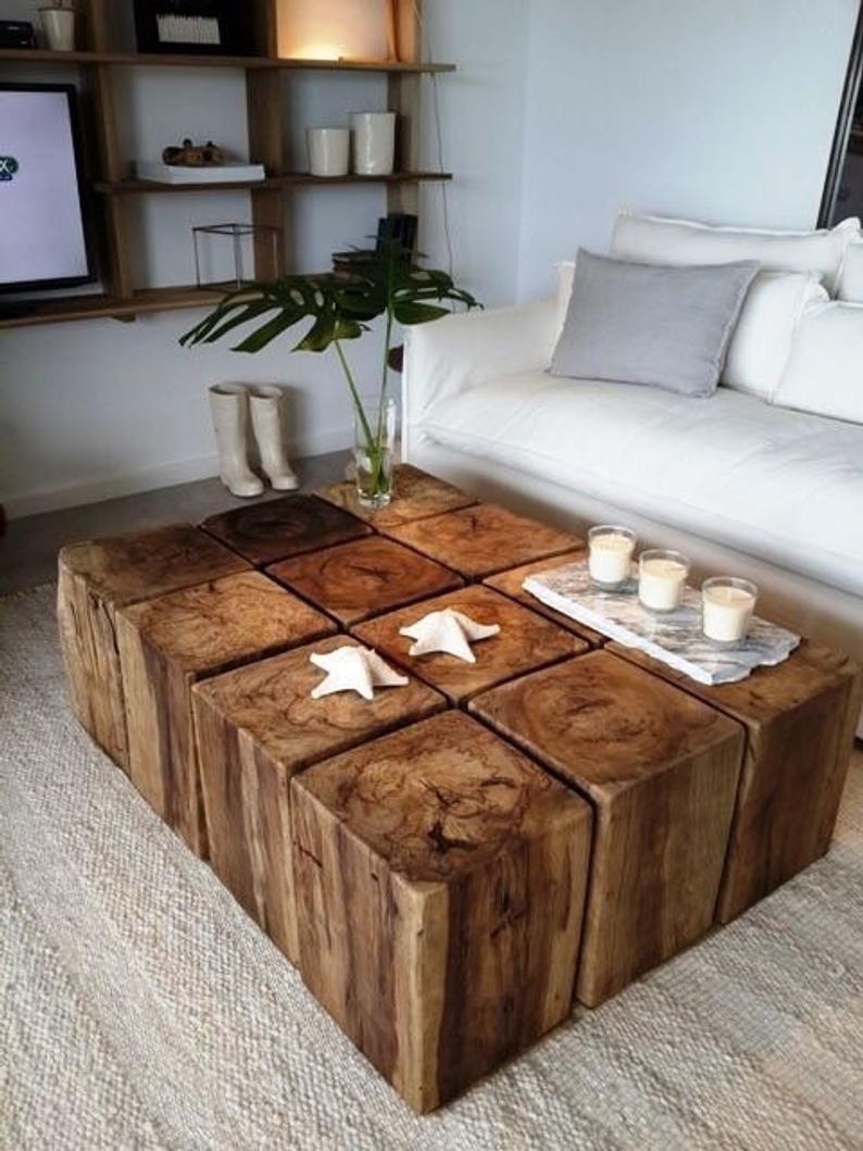 Mesa de centro rustica de madeira retangular