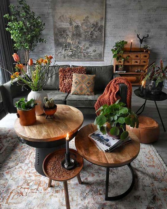 Mesa de centro rustica e redonda para sala de estar moderna