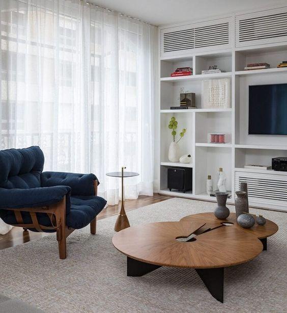 Mesa de centro rustica para sala branca e moderna