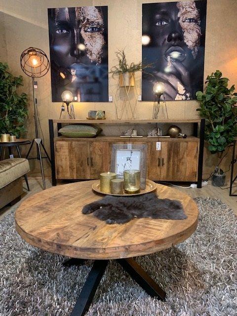 Mesa de centro rustica redonda para sala de estar