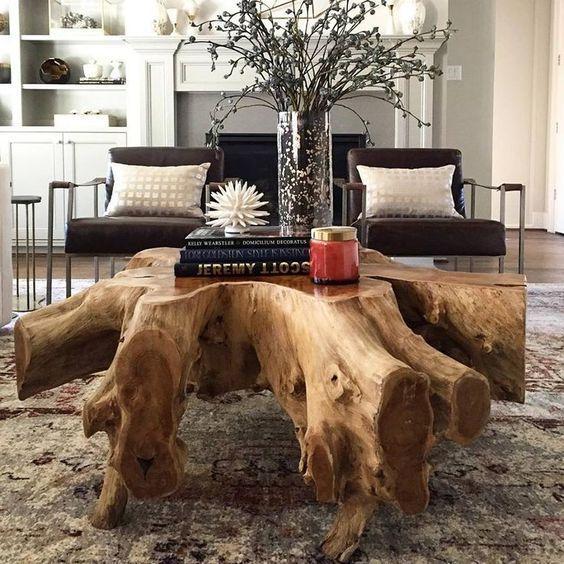 Mesa de centro rustico de madeira para sala clássica