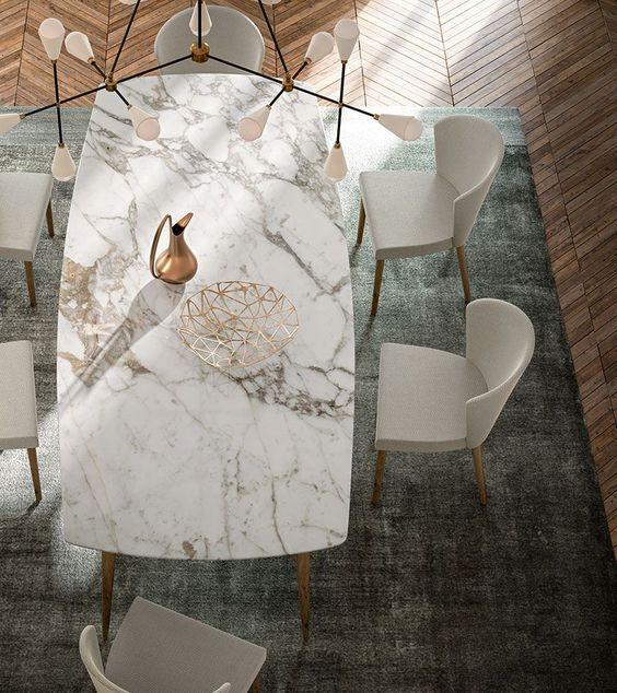 Mesa de granito branco e cinza para sala de estar clássica