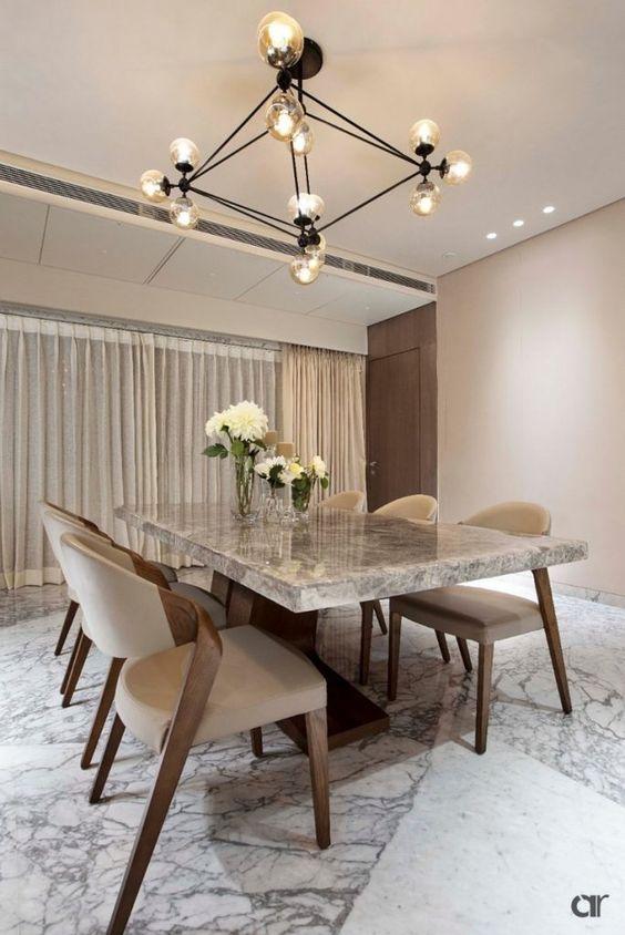 Mesa de granito cinza para sala clássica