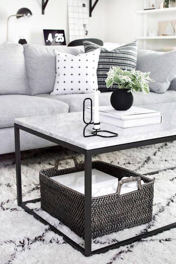 Mesa de granito de centro para sala de estar minimalista