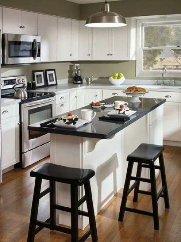 Mesa de granito na cozinha americana