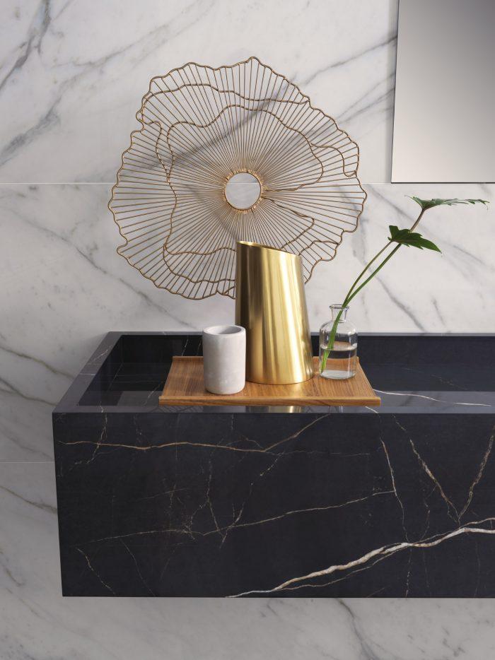 Pia de porcelanato marmorizada