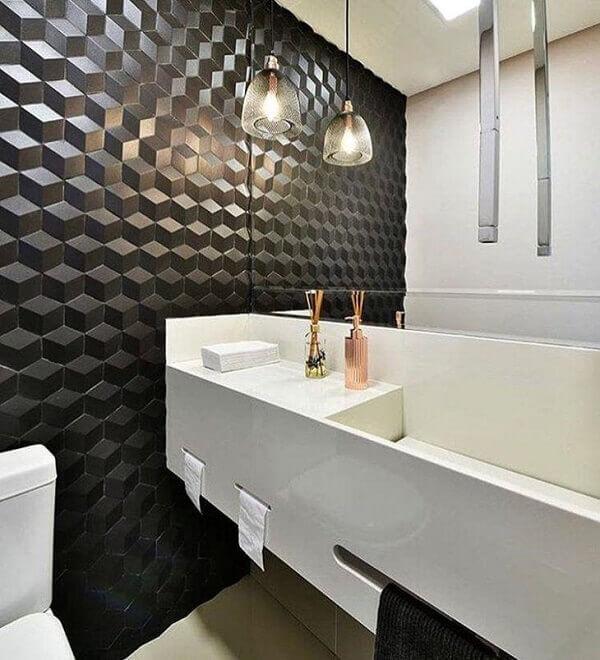 Pia de porcelanato para banheiro com papel de parede 3D