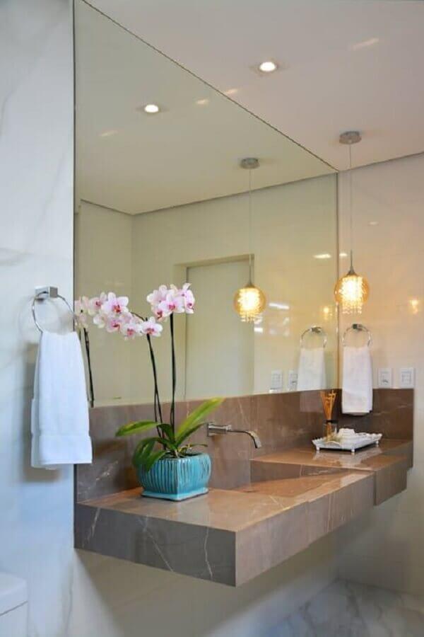 Pia de porcelanato para banheiro marmorizada
