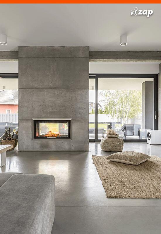 Piso de cimento queimado na sala de estar