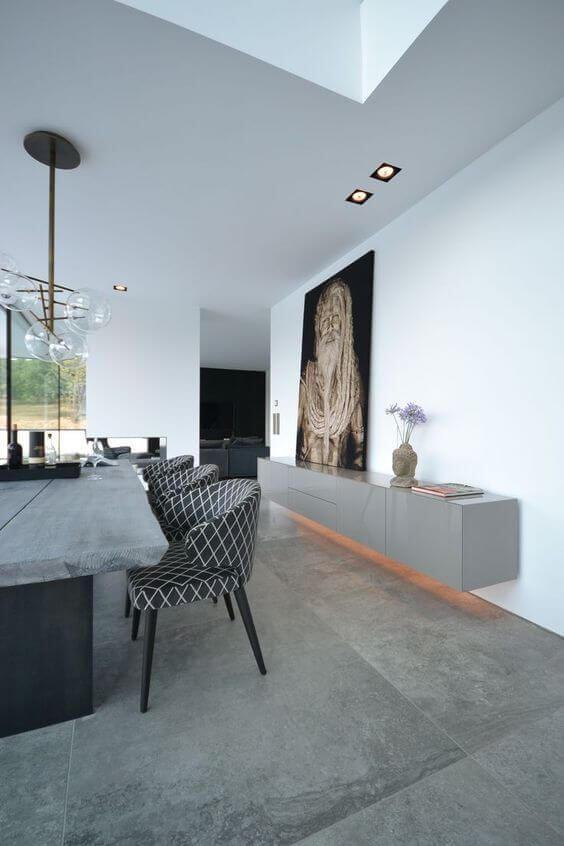 Piso de cimento queimado na sala de estar moderna