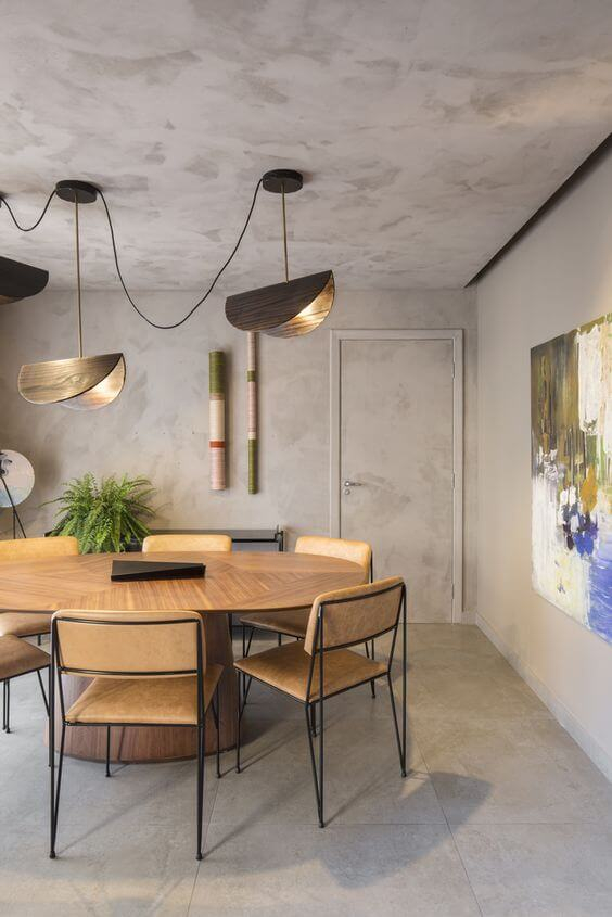 Porcelanato cimento queimado na sala de jantar
