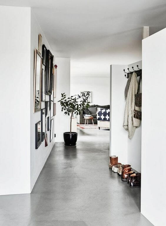 Porcelanato cimento queimado para sala de estar