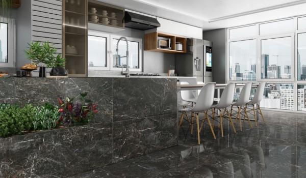 Porcelanato marmorizado preto